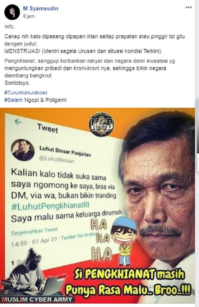 [Cek Fakta] Tagar #LuhutPengkhianatRI <i>Trending</i> di Twitter, Luhut Malu sama Keluarga di Rumah? Ini Faktanya