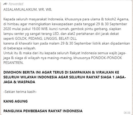[Cek Fakta] Pemadaman Listrik Malam Hari Siaga 1 Jelang 30 September? Ini Faktanya