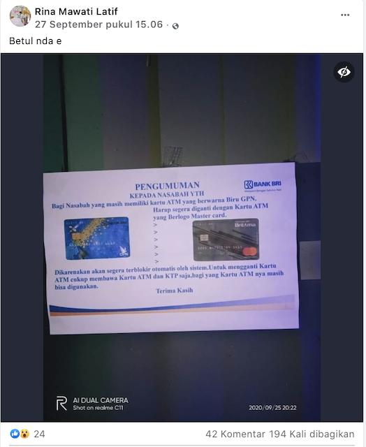 [Cek Fakta] Beredar Kabar Nasabah BRI Wajib Ganti Kartu ATM GPN ke <i>Mastercard?</i> Cek Faktanya