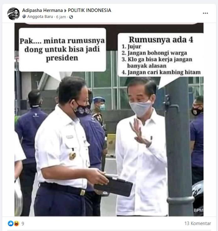[Cek Fakta] Foto Anies Minta Rumus Jadi Presiden ke Jokowi? Ini Faktanya