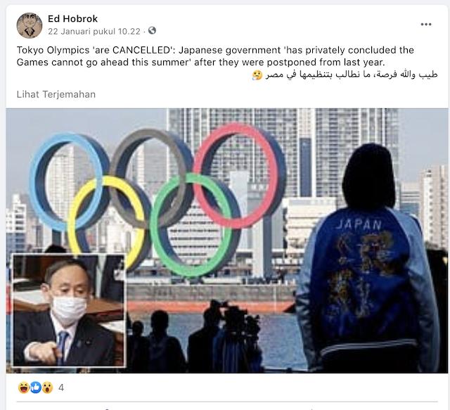 Cek Fakta Jepang Batalkan Olimpiade Tokyo 2021 Ini Faktanya