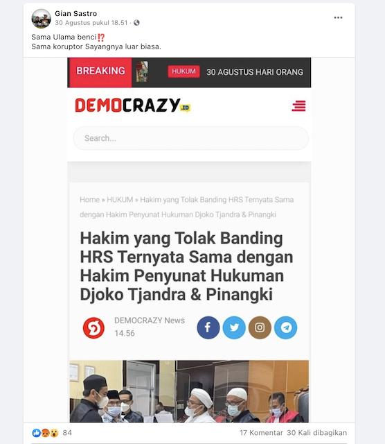 [Cek Fakta] Benarkah Hakim yang Tolak Banding HRS Sama dengan Hakim yang Memotong Hukuman Djoko Tjandra dan Pinangki?