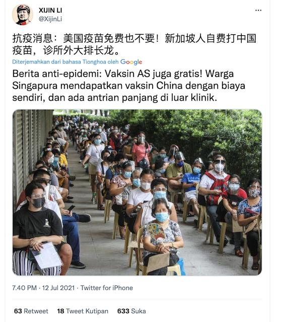 [Cek Fakta] Warga Singapura Mengantre Vaksin Buatan China? Ini Faktanya