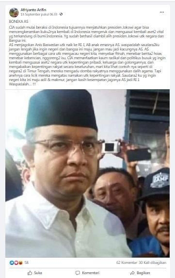 [Cek Fakta] Amerika Serikat Jagokan Anies Baswedan jadi Presiden Indonesia? Ini Faktanya