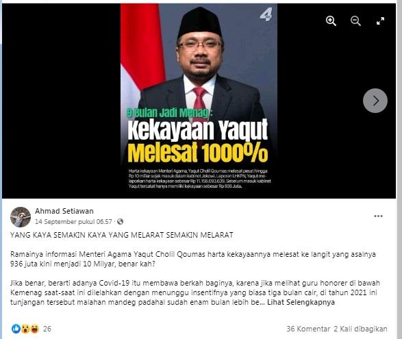 [Cek Fakta] Benarkah Kekayaan Yaqut Meningkat Tajam setelah 9 Bulan jadi Menteri Agama? Ini Faktanya