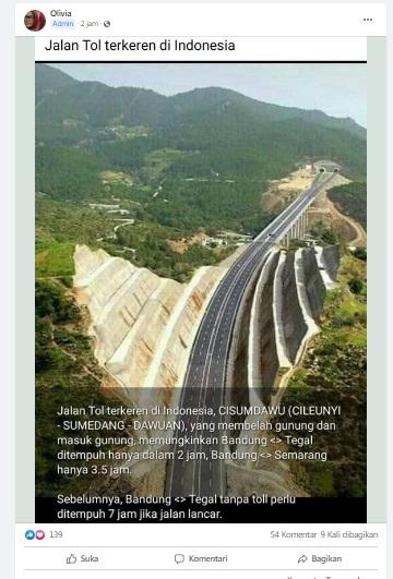 [Cek Fakta] Foto Penampakan Jalan Tol Cisumdawu Terkeren di Indonesia? Ini Faktanya