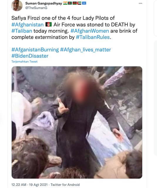 [Cek Fakta] Pilot Wanita Afghanistan Dirajam Hingga Meninggal oleh Taliban? Begini Faktanya