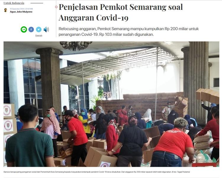 [Cek Fakta] Cawalkot Hendi Sebut <i>Refocusing</i> Anggaran Covid-19 di Semarang Rp300 Miliar? Ini Faktanya