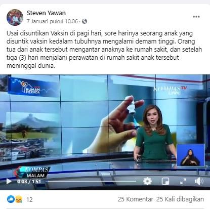 [Cek Fakta] Seorang Siswi di Karawang Meninggal Usai Diberi Vaksin? Ini Faktanya
