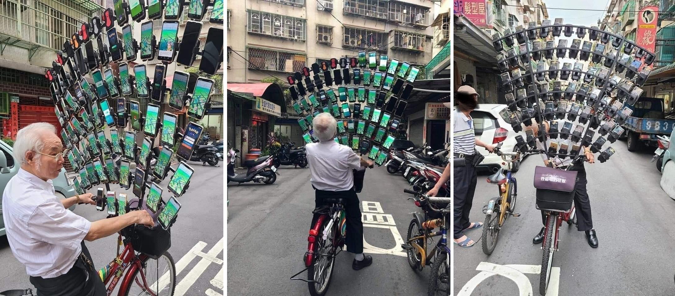 Kakek di Taiwan Bersepeda Sambil Main Pokemon Go di 64 Smartphone