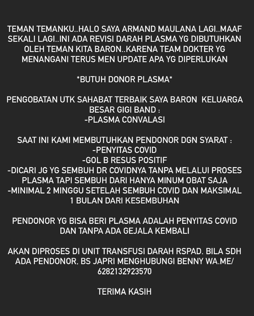 Aria Baron Positif Covid-19, Armand Maulana Cari Pendonor Plasma