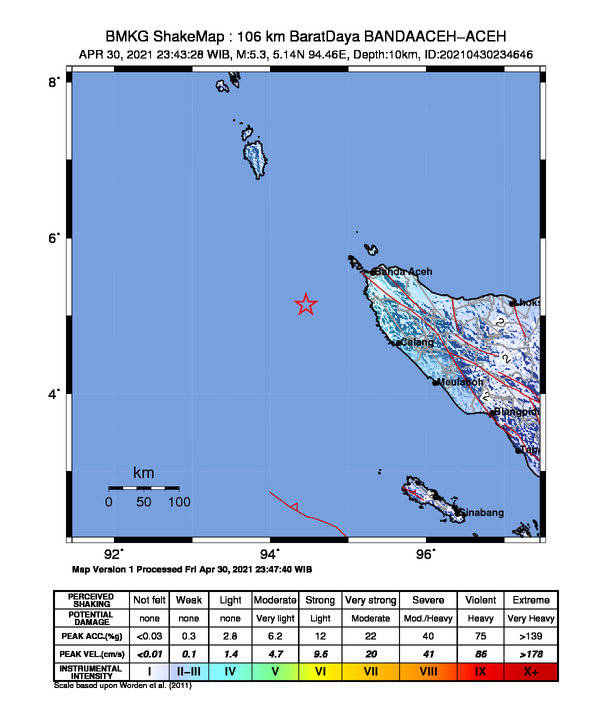 Banda Aceh Diguncang Gempa 5,3 Magnitudo