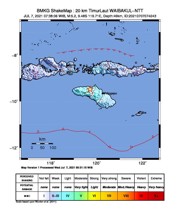 Waibakul NTT Diguncang Gempa 5,2 Magnitudo