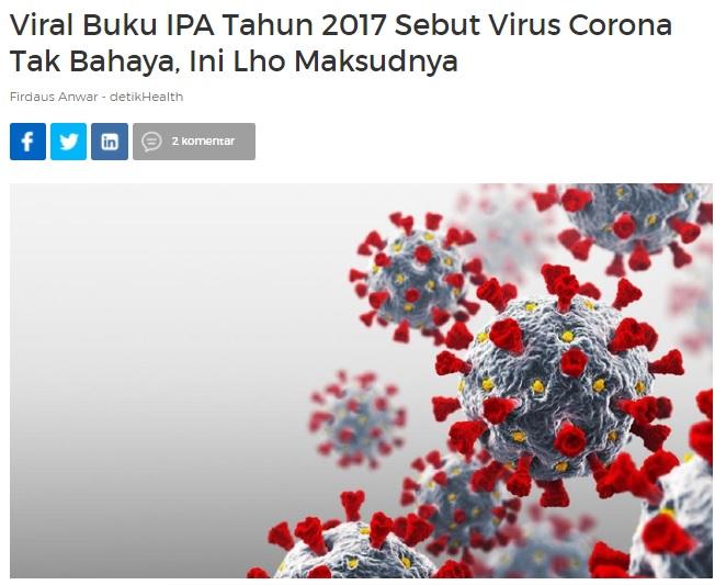 [Cek Fakta] Buku IPA Sekolah Dasar Sebut Virus Korona Tak Berbahaya? Ini Faktanya