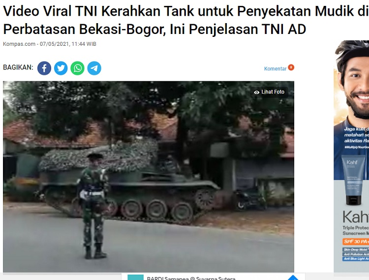 [Cek Fakta] TNI Kerahkan Tank untuk Sekat Pemudik? Ini Faktanya