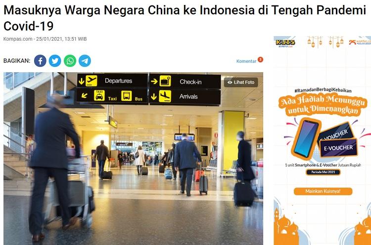 [Cek Fakta] Waspada, 12 Juta Warga Tiongkok Masuk Indonesia 6-17 Mei? Ini Faktanya