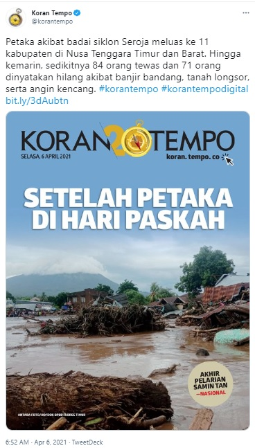 [Cek Fakta] Sampul Koran Tempo Berjudul <i>Sebelum Banjir Miras Allah Dahului dengan Banjir Bandang!</i>? Ini Faktannya