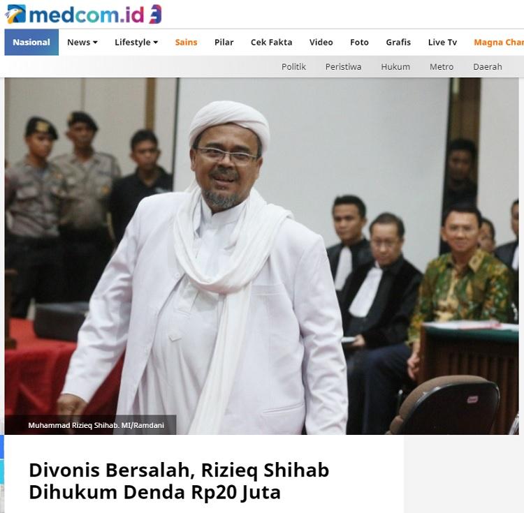 [Cek Fakta] Habib Rizieq Divonis 10 Tahun Penjara? Ini Faktanya