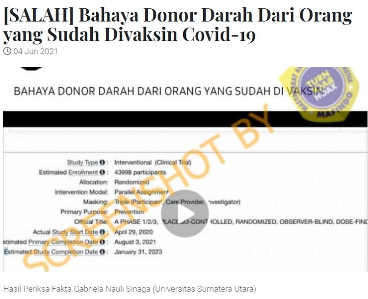 [Cek Fakta] Darah Pendonor yang Sudah Divaksin Berbahaya? Ini Faktanya