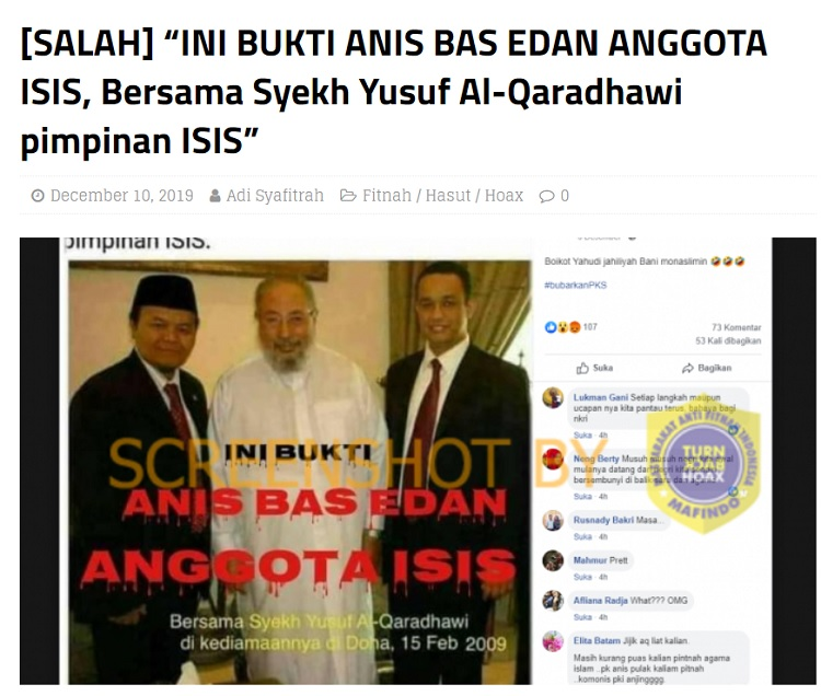 [Cek Fakta] Foto Anies Bersama Tokoh ISIS? Ini Faktanya