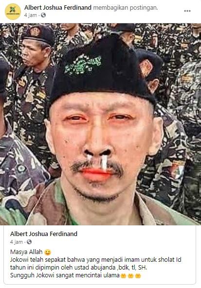 [Cek Fakta] Jokowi Tunjuk Abu Janda Jadi Imam Salat Id? Ini Faktanya