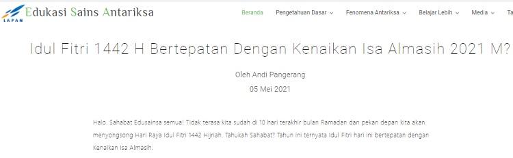 [Cek Fakta] Idulfitri Bebarengan dengan Kenaikan Isa Almasih Hanya Terjadi di Era Jokowi? Ini Faktanya