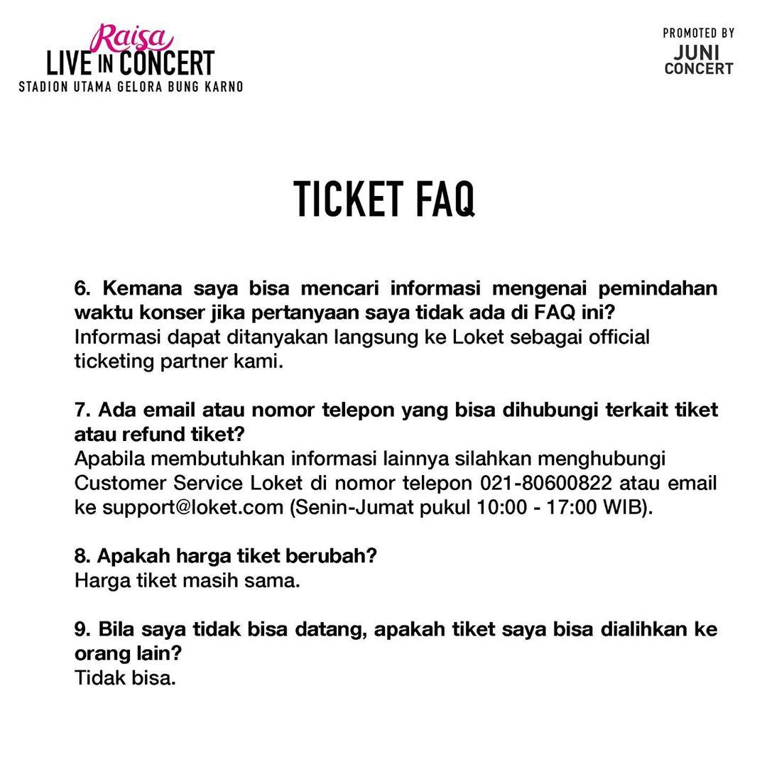 Diundur, Pemilik Tiket Konser Raisa di GBK Tak Perlu Konfirmasi Ulang