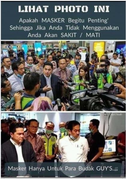 [Cek Fakta] Foto Erick Thohir Tak Bermasker di Kerumunan? Ini Faktanya