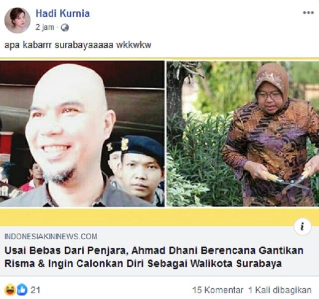 Ahmad Dhani Berencana Gantikan Risma, Ingin Jadi Wali Kota Surabaya? Ini Faktanya