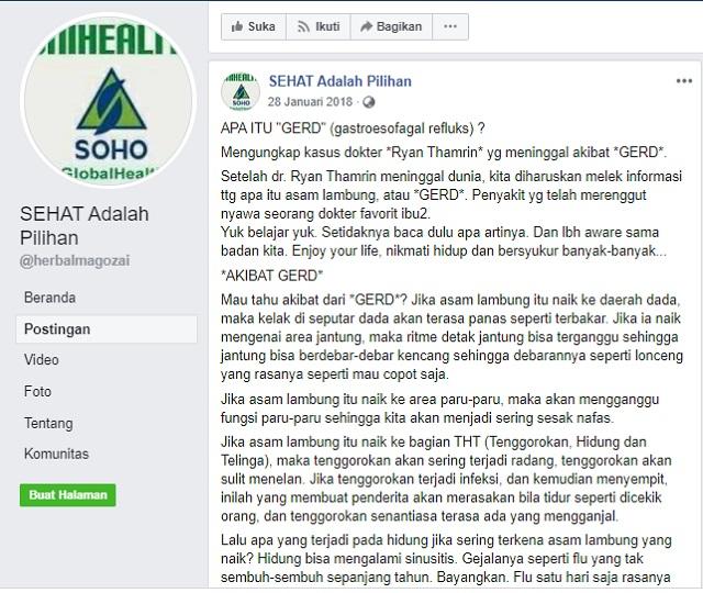 [Cek Fakta] Viral Pesan Berantai WhatsApp Sebut Ashraf Sinclair Meninggal karena GERD? Ini Faktanya