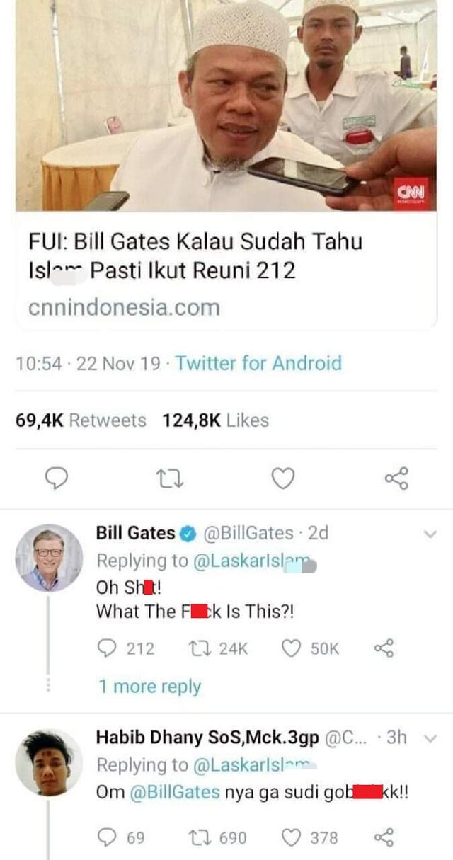 [Cek Fakta] Akun Twitter Bill Gates Berkomentar Kasar Terkait Reuni 212?