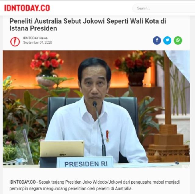 [Cek Fakta] Peneliti Australia Sebut Jokowi Tak Memiliki Kemampuan Melainkan Daya Rusak? Cek Faktanya