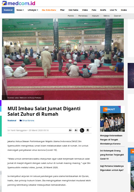 [Cek Fakta] Wabah Korona, Warga Tiongkok Berbondong-bondong ke Masjid, di Indonesia Rakyat Dilarang ke Masjid? Hoaks