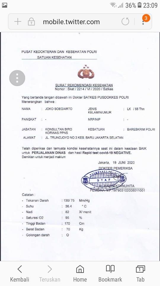 Djoko Tjandra Diduga Dapat Surat Bebas Covid-19 dari Polri