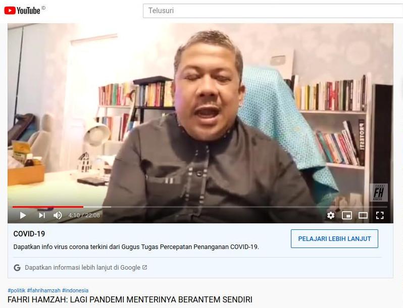 Fahri Hamzah, Si Raja Cuit yang Lunglai di Youtube
