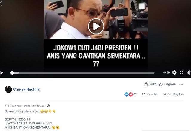 [Cek Fakta] Jokowi Cuti jadi Presiden, Anies Gantikan Sementara? Hoaks