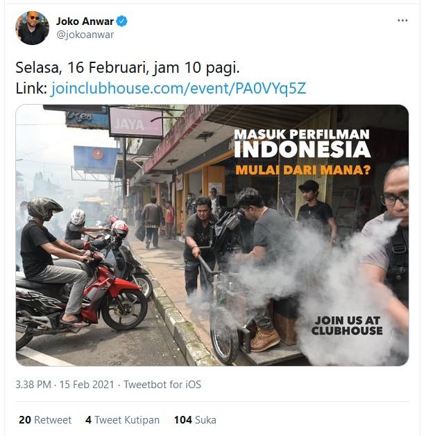 Joko Anwar Punya Akun Clubhouse, Bahas Soal Apa Ya?