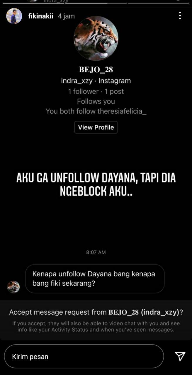 Akun Instagramnya Diblokir Dayana, Begini Reaksi Fiki Naki