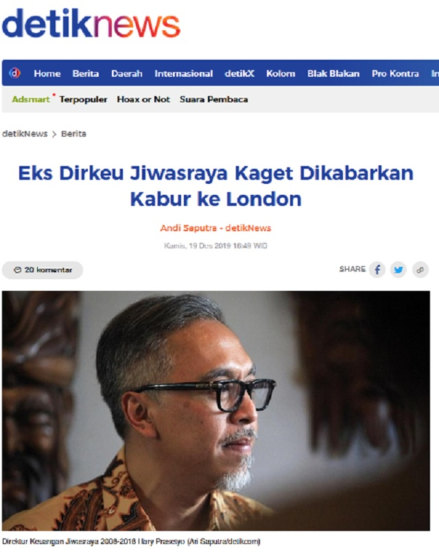 [Cek Fakta] Eks Dirkeu Jiwasraya Hary Prasetyo Kabur ke London? Ini Faktanya