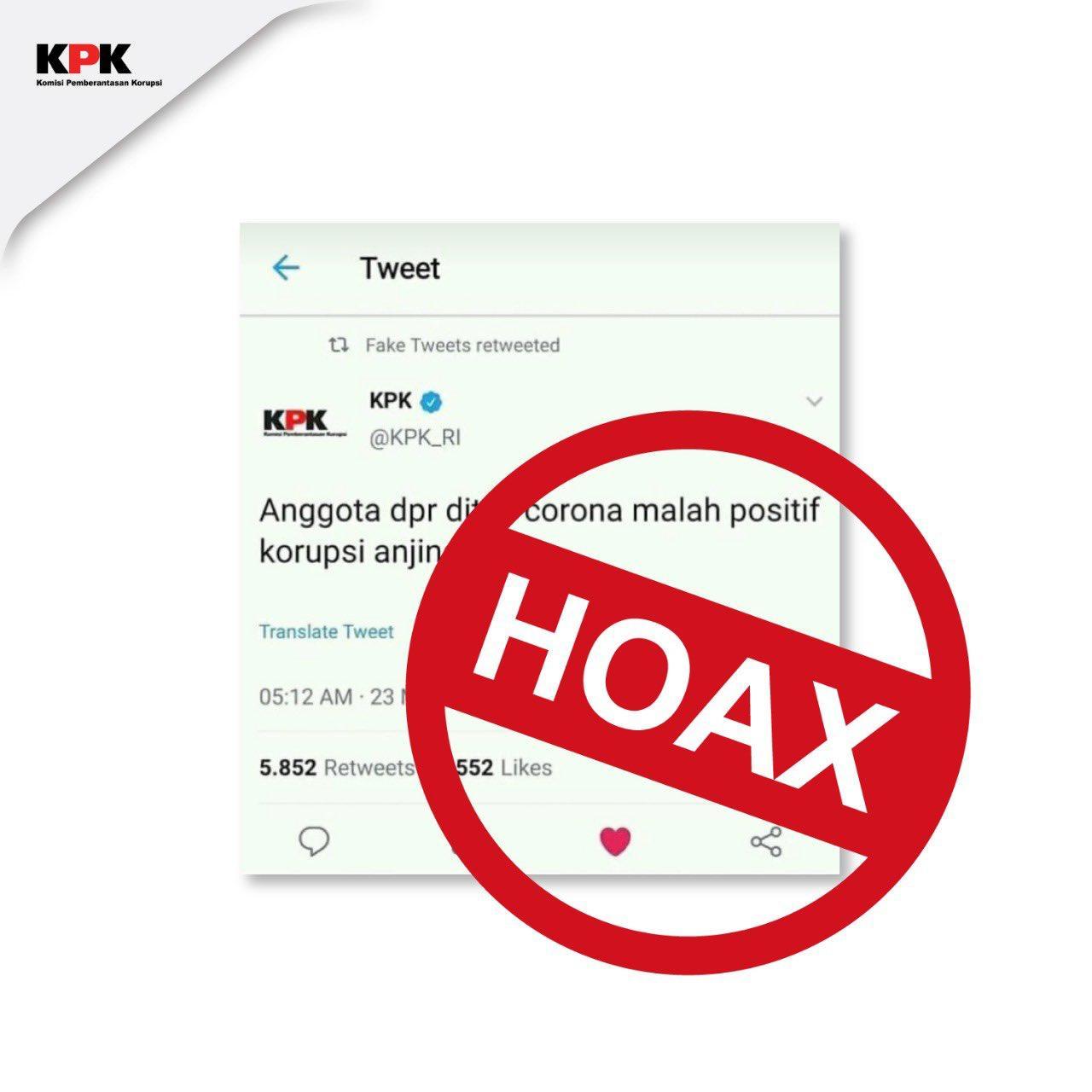 KPK Sebut Anggota DPR Dites Korona Positif Korupsi Hoaks