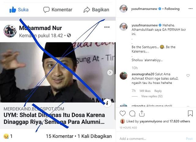 [Hoaks] Ustaz Yusuf Mansur Minta Alumni 212 Bertobat