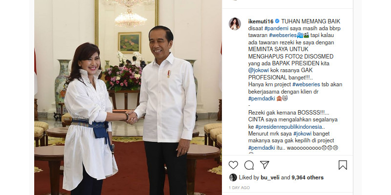Ike Muti Ungkap Diminta Hapus Foto Jokowi Demi Proyek di DKI
