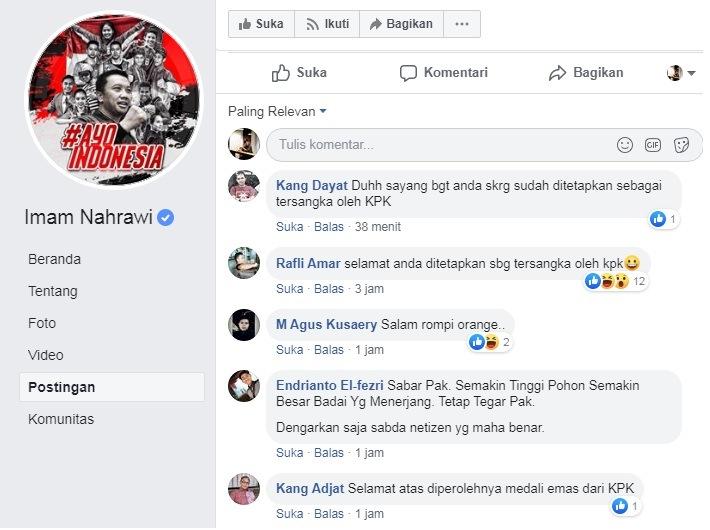 Jadi Tersangka KPK, Imam Nahrawi Tutup Kolom Komentar Instagram