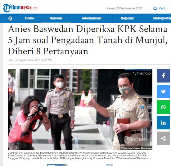 [Cek Fakta] Anies Baswedan Resmi jadi Tersangka KPK? Ini Faktanya