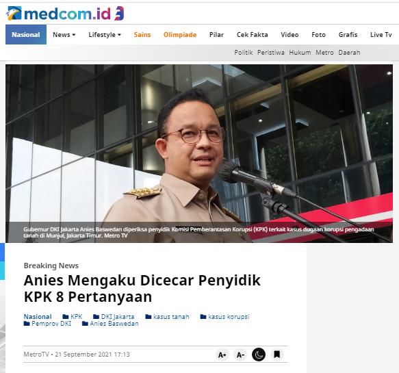 [Cek Fakta] Benarkah Anies Baswedan Pengecut Kabur usai Diperiksa KPK? Ini Faktanya