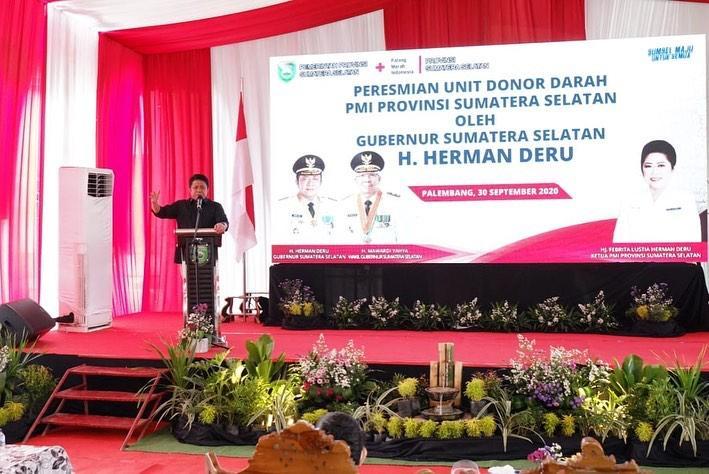 Herman Deru Resmikan Pengaktifan Kembali Unit Donor Darah di Sumsel