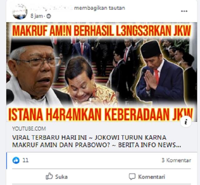 [Cek Fakta] Ma'ruf Amin Berhasil Lengserkan Jokowi? Ini Faktanya