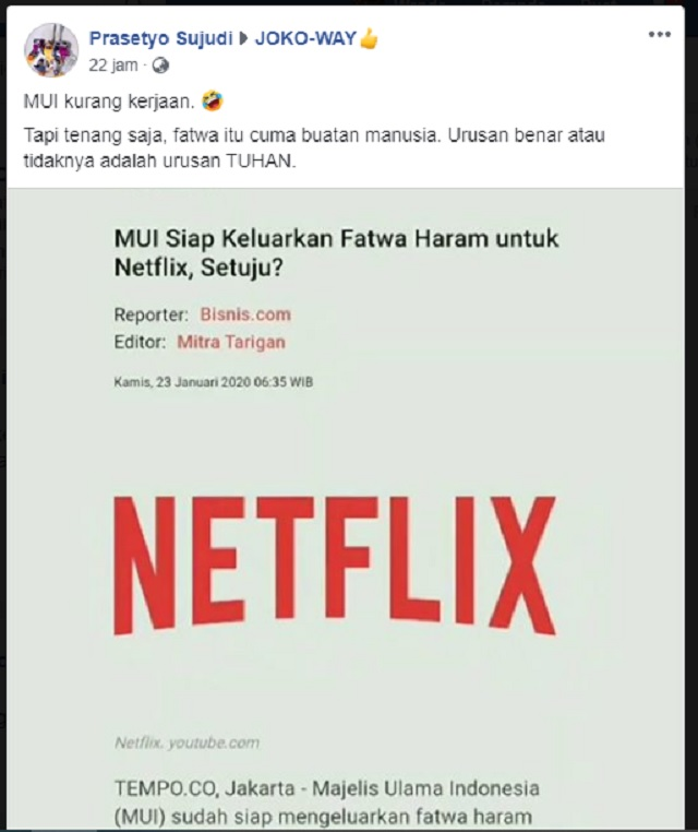 [Cek Fakta] MUI Kurang <i>Kerjaan</i> Mengharamkan Netflix? Ini Faktanya