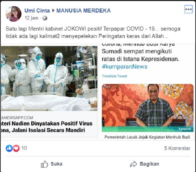 [Cek Fakta] Menteri Nadiem Juga Positif Korona? Hoaks