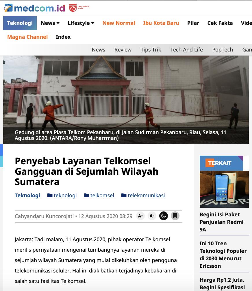 [Cek Fakta] Akibat Kebakaran STO Telkom Pekanbaru, Perbaikan Layanan Telkomsel sampai 1 Bulan Hoaks, Ini Faktanya